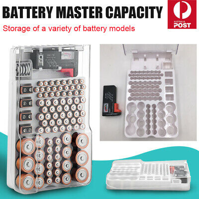 Battery Storage Organizer Holder with Tester - Battery Caddy Rack Case Box NEW