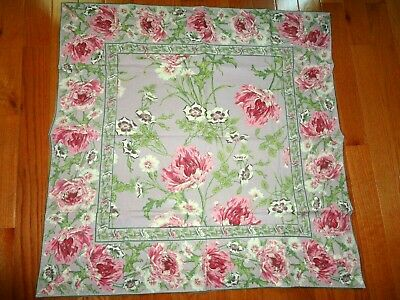 "APRIL CORNELL FLORAL TABLECLOTH LT PLUM BORDER TABLE TOPPER 36"" x 36"" NEVER USED"