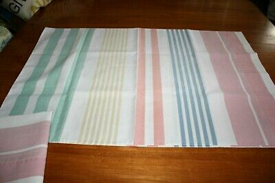Pillowcases Vintage Pastel Stripes Standard Size Cotton Blend Percale Pair Nice