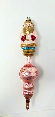 Larry Fraga Glass Ornament Signed Santa Claus Pink Gold Dresden Dove 11 Inch