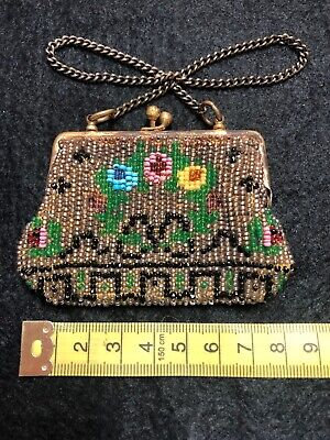 Charming Antique Small Hand Beaded Art Deco Purse / Bag c. 1910/1920s