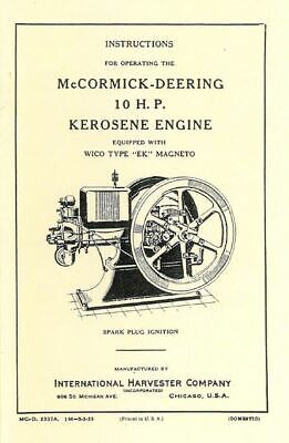 10 HP McCormick Deering International M EK Magneto Gas Engine Motor Book Manual