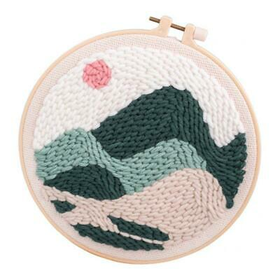 Punch Needle Embroidery Kit Soft Yarn 20cm Embroidery Hoop Sunrise Landscape