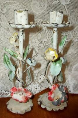 Italian Tole Floral Candle Holders Chippy Shabby Chic Vintage Original