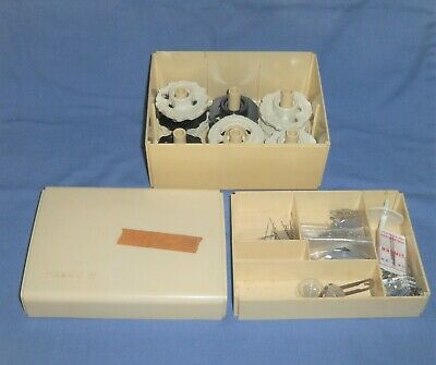 VTG Lot Singer Sewing Machine Flexi Stitch Top Hat Cams Parts Box Ducks Disc