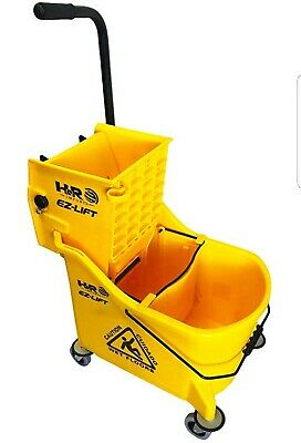 Hero EZ-Lift Dual Cavity Commercial Mop Bucket with Wringer on Wheels.