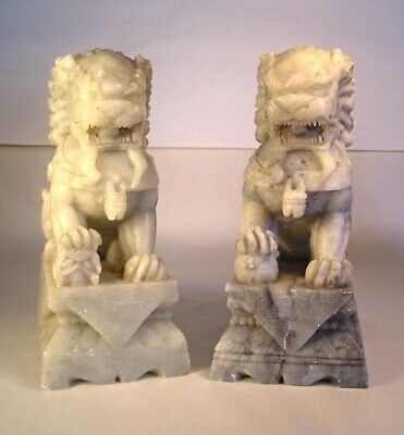 An Old Pair of Chinese Carved Stone Figures T15