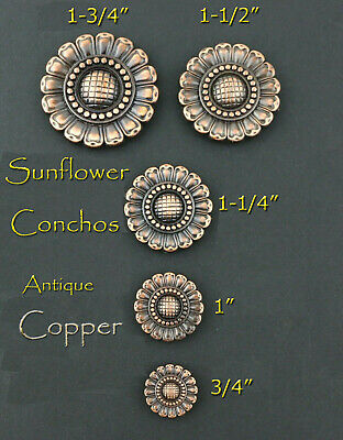 U-TY04 SET OF 4 CRYSTAL RHINESTONE BLING CONCHOS FLORAL DESIGN ANTIQUE COPPER FI