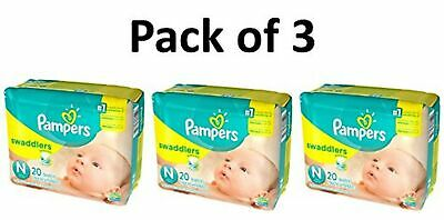 Pampers Swaddlers Diapers, Size Newborn, 20 Count Pack of 3 (Total of 60 Pamp...