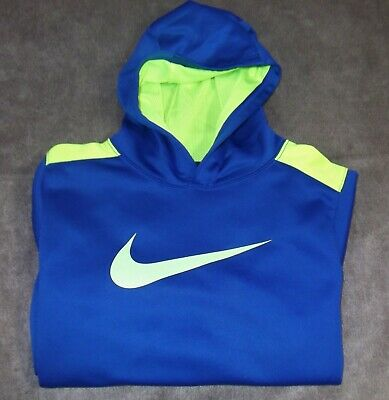 BOYS NIKE BLUENEON Yellow THERMA FIT Pullover Hoodie