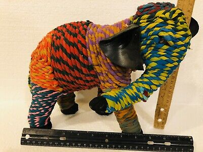 Handcrafted Multi Color Chindi Rope Wrapped Elephant Sculpture Animal Figurine