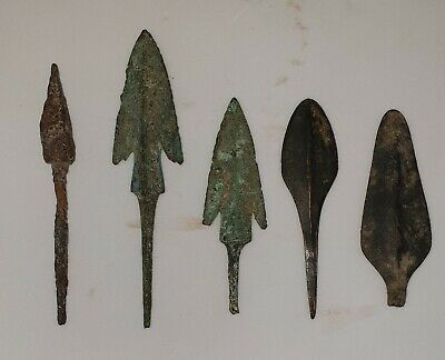 5 Ancient Bactrian Arrow and Spear heads from around C.300 BC  IN TOP CONDITION