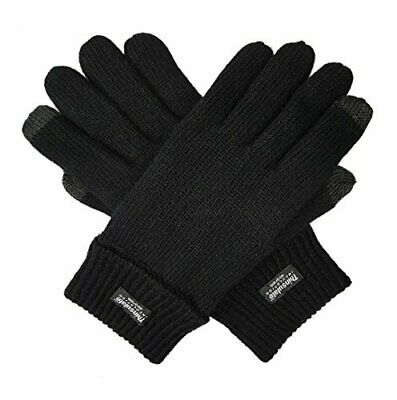 Bruceriver Men's Pure Wool Knitted Gloves with Small / Medium Black Touchscreen