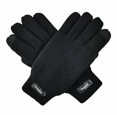 Bruceriver Men Pure Wool Knit Gloves with Small / Medium Black Touchscreen