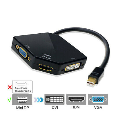 Cablecc Mini Displayport Thunderbolt DP - DVI VGA HDMI Adapter 3 in1 for MacBook