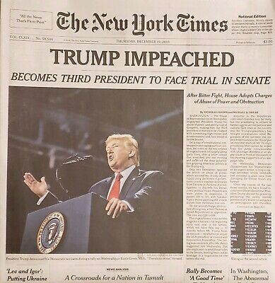 December 19, 2019 New York Times Trump Impeached Shipped In Custom Cardboard Box