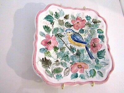 Wall Hanging Plate Flowers and Blue Bird Hand Painted 7""