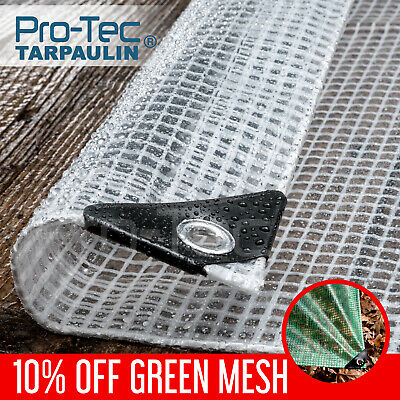 200gsm Heavy Duty Reinforced Mesh Clear Waterproof Tarpaulin Cover Mono Sheet