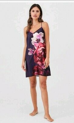 Bnwt B By Ted Baker Purple Floral Printed Satin Chemise Size 14