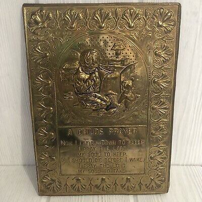 Vintage Pressed Raised Brass Wall Hanging Plaque A Child's Prayer England