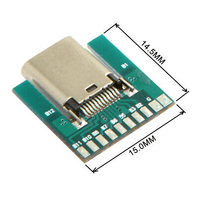 Cablecc DIY 24pin USB 3.1 Type C Female Socket Connector SMT type with PCB