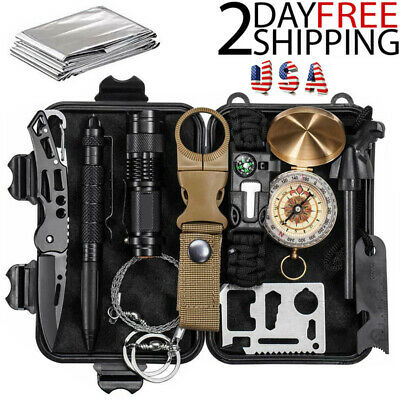 12 in 1 Outdoor Camping Survival Gear Kits SOS EDC Self Defense Emergency Kit