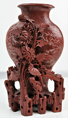 ANTIQUE Hand Carved Pure Red Soapstone Chinese Vase Floral and bird Sculpture