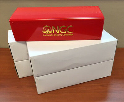 Lot of Four (4) RED & GOLD New NGC Storage Box  Holds 20 NGC Slab