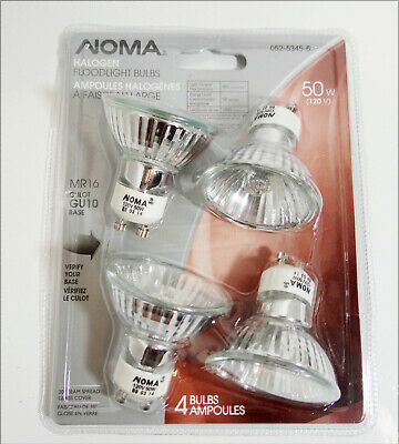 4 Pack Noma Halogen Floodlights 50 w 120 V MR16 GU10 Base Sealed