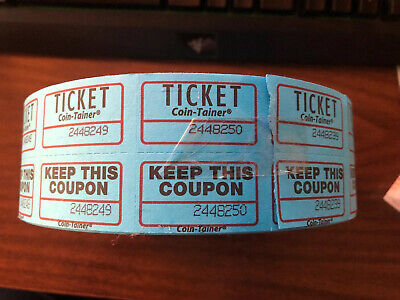 2000 Blue Coin-tainer Double Tickets Numbered Raffle Contest Roll W/ BONUS