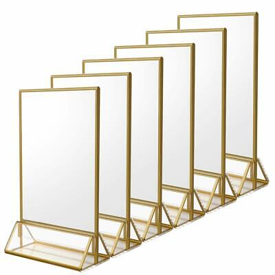 NIUBEE 6Pack 4 x 6 Clear Acrylic Sign Holder with Gold Borders and Vertical