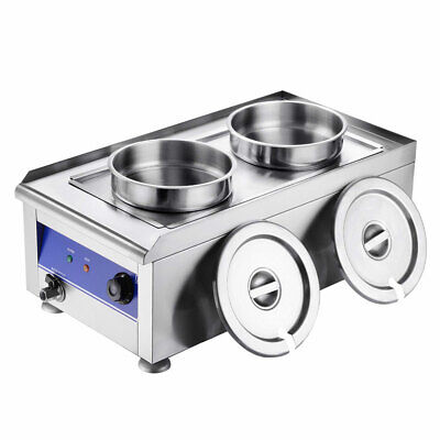 1200W Commercial Food Warmer With Dual 7L Pot Stainless Steel Countertop Steam