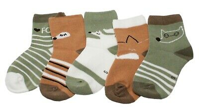 Baby Kid Girl Boy Brown Green Fox Striped Ankle Socks Age 1/2/3/4/5/6/7/8 Gift