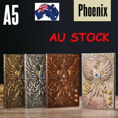 Vintage 3D Printing Embossed Phoenix A5 Travel Diary Notebook Journal Leather