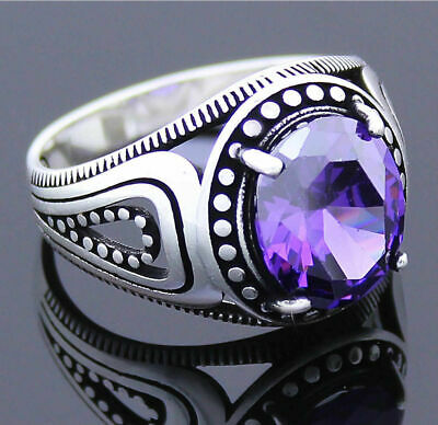 Turkish 925 Sterling Silver purple amethyst stone Mens mans ring ALL SİZE us 020