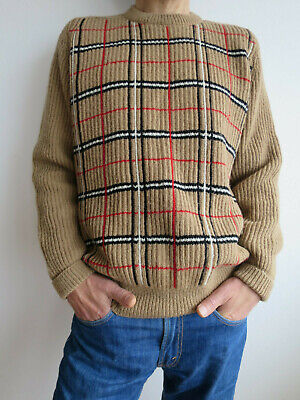 Vintage wool jumper thick rib Brenire Selkirk Burberry colours hand framed M-L
