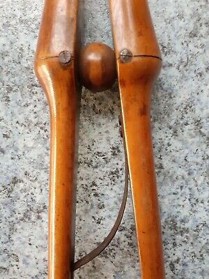 Antique de-luxe long wooden Glove Finger Stretcher Tongs. A fine polished pair!