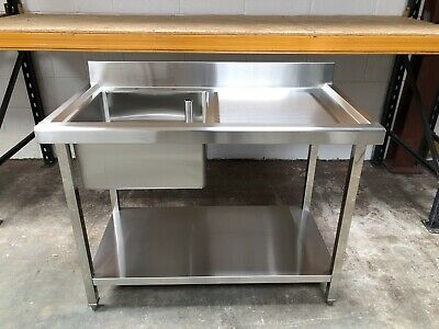 1m 1000mm Stainless steel commercial catering kitchen single bowl sink