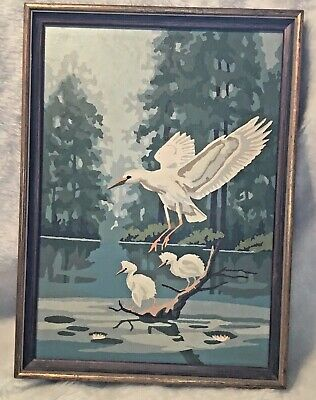 "Vintage Paint By Number White Feathered Egrets Birds 15"" x 11"" Framed"