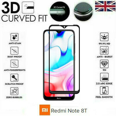 For Xiaomi Redmi Note 8T (2019) Full 3D Tempered Glass 9H Screen Protector Cover