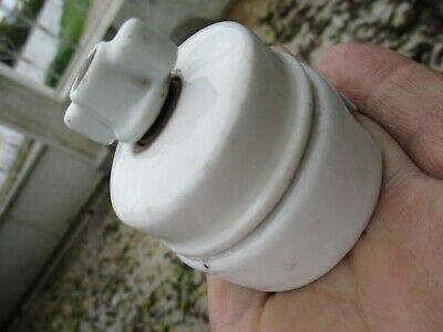 Vintage 1920s French Rare Turn Switch Porcelain Light Electric Switches Button