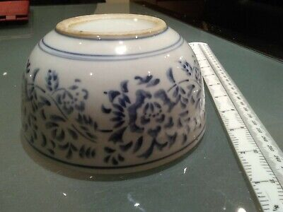 """Chinese noodle/rice bowl export blue & white vintage 6"""" floral stylised vgc"""