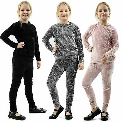 Girls Kids Crushed Velvet Velour Loungewear 2 Pcs Co-ord Set Jogsuit Tracksuit