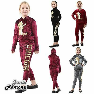 Girls Kids Dab Unicorn Gold Foil Print Hooded Loungewear Velour Velvet Tracksuit