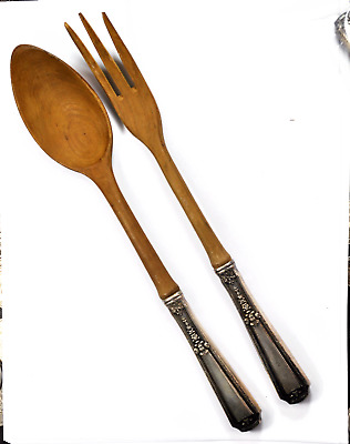 Louis XIV by Towle Sterling Hollow Handle Salad Fork & Spoon Wood Serving Set