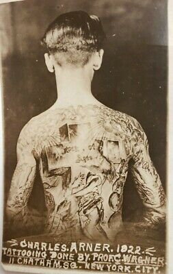 antique original 1922 charlie charles  wagner arner bowery nyc tattoo rppc card