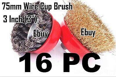 "16 Wire Cup Brush Wheel 3"" (75mm) for 4-1/2"" (115mm) Angle Grinder Twist Crimped"