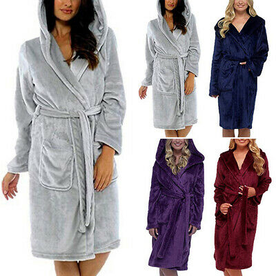 Women Fluffy Sleepwear Hoodie Fleece Dressing Gown Soft Shawl Warm Bath Robe Set
