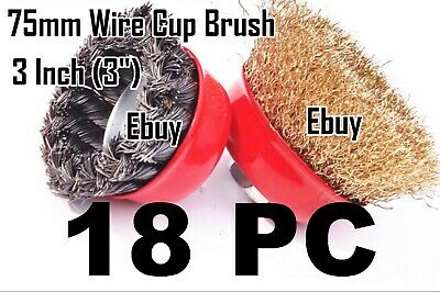 "18pc x 3"" Arbor FINE Crimp & Knot Wire Cup Brush Twist Fit 4-1/2"" Angle Grinder"