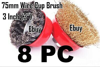 "8pc-3"" x 5/8"" Arbor FINE Crimp & Knot Wire Cup Brush Twist 4-1/2"" Angle Grinder"